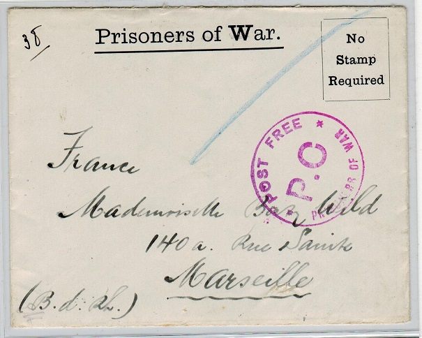GREAT BRITAIN - 1916 stampless POW envelope to France from an inmate at Knockaloe Camp.