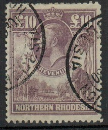NORTHERN RHODESIA - 1925 £10 purple REVENUE issue used.