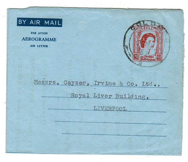 CEYLON - 1957 40C red on blue postal stationery AEROGRAMME used at COLOMBO.  H&G 13.