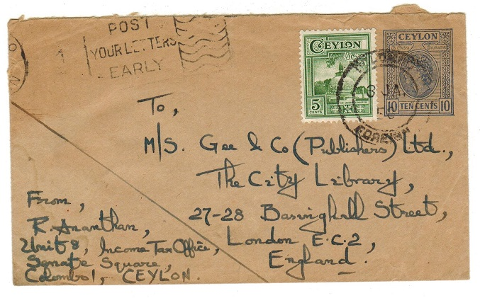 CEYLON - 1958 10c blue on buff uprated PSE to UK cancelled COLOMBO/FOREIGN.