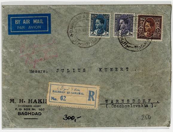 IRAQ - 1936 registered cover to Czechoslovakia used at BAGHDAD AS-SAMAWAL.