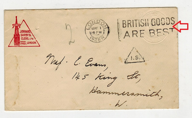 GREAT BRITAIN - 1913 1/2d green PSE used at LONDON with major variety ALBINO IMPRESSION.