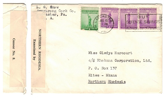 NORTHERN RHODESIA - 1941 inward cover from USA with CENSOR No.8 label applied.