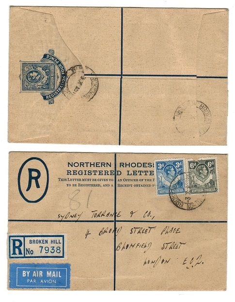 NORTHERN RHODESIA - 1938 4d RPSE to UK used at BROKEN HILL.  H&G 2.