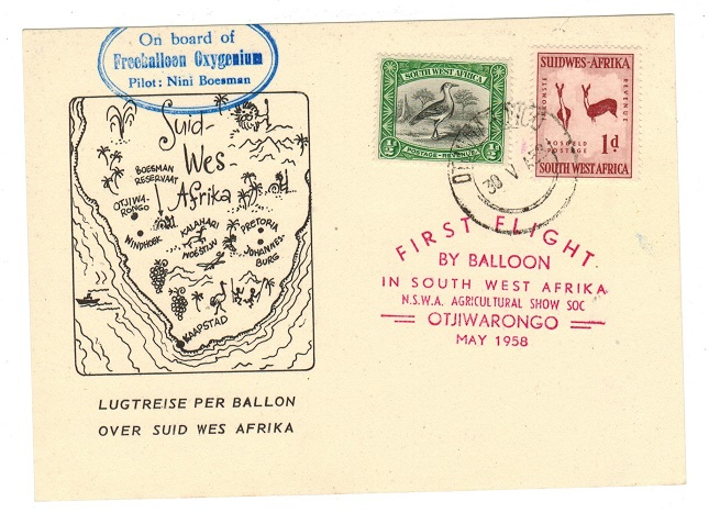 SOUTH WEST AFRICA - 1958 Balloon first flight card (no message) as issued.