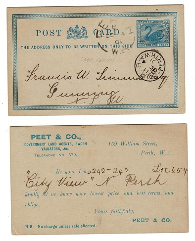 AUSTRALIA (Western Australia) - 1897 1d blue PSC used at S.M.R.PERTH.  H&G 2.