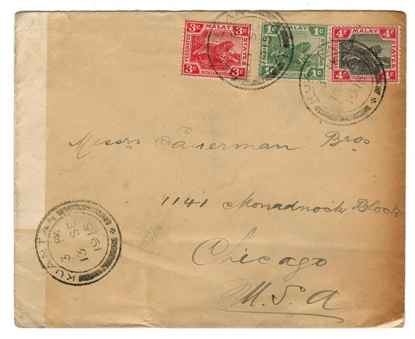 MALAYA (Penang) - 1915 8c rate (toned) cover to USA used at KUANTAN.