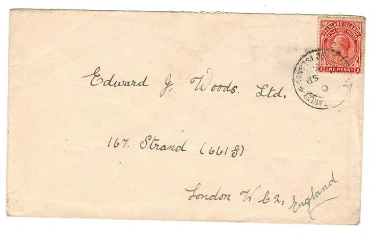 FALKLAND ISLANDS - 1925 1d rate cover to UK used at PORT STANLEY.