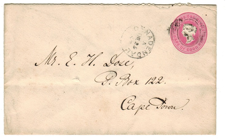 CAPE OF GOOD HOPE - 1892 1d pink PSE used at GENADENDAL.  H&G 2a.