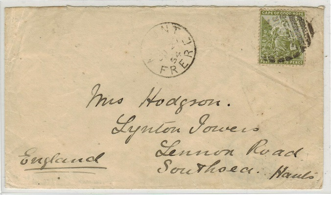 CAPE OF GOOD HOPE - 1894 2 1/2d rate cover to UK used at MOUNT/FERE.