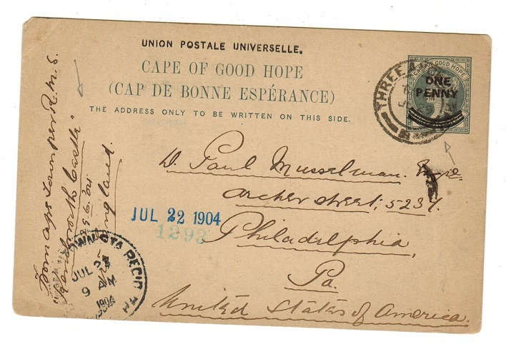 CAPE OF GOOD HOPE - 1897 1d on 1 1/2d grey PSC to USA used at THREE ANCHOR BAY.  H&G 12.