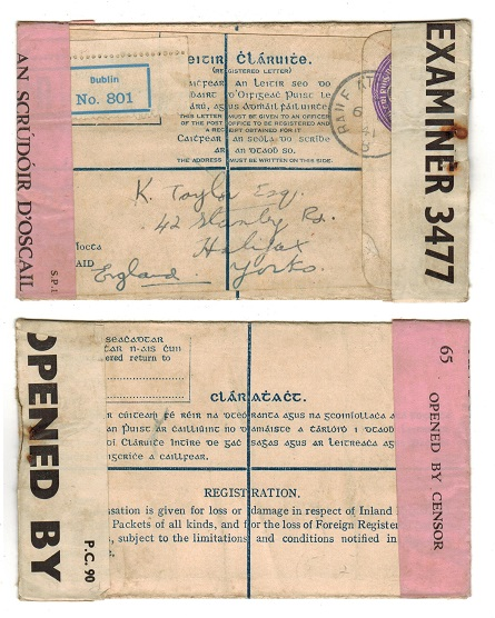 IRELAND - 1938 5d violet censored RPSE to UK.  H&G 7.