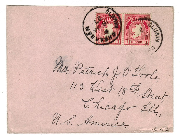 IRELAND - 1927 2d rate cover to USA used at CLUAIN CHEARBAN.