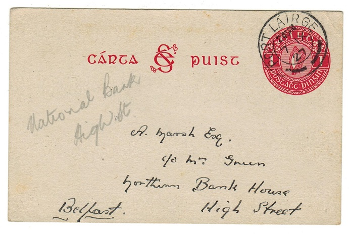 IRELAND - 1927 1d PSC to Belfast used at PORT LAIRGE. H&G 3.