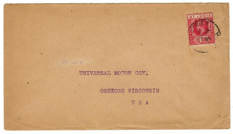 ST.LUCIA - 1921 1d rate cover to USA used at CASTRIES.