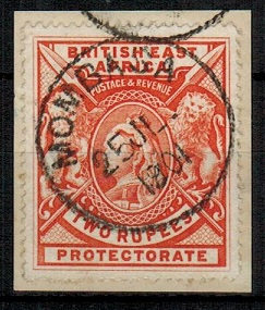 BRITISH EAST AFRICA - 1897 2r orange on piece cancelled MOMBASA.  H&G 93.