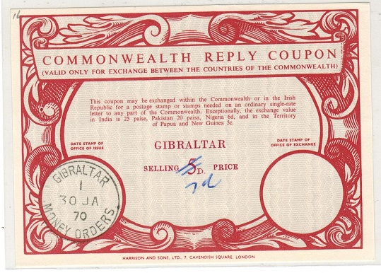 GIBRALTAR - 1970 5d red COMMONWEALTH REPLY COUPON