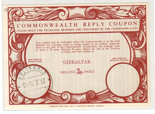 GIBRALTAR - 1975 3p red COMMONWEALTH REPLY COUPON.