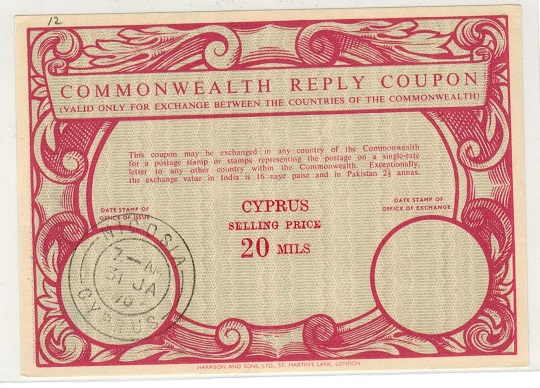 CYPRUS - 1970 20m red COMMONWEALTH REPLY COUPON issued at NICOSIA.