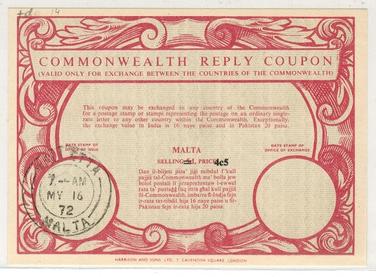 MALTA - 1972 5d red COMMONWEALTH REPLY COUPON revised