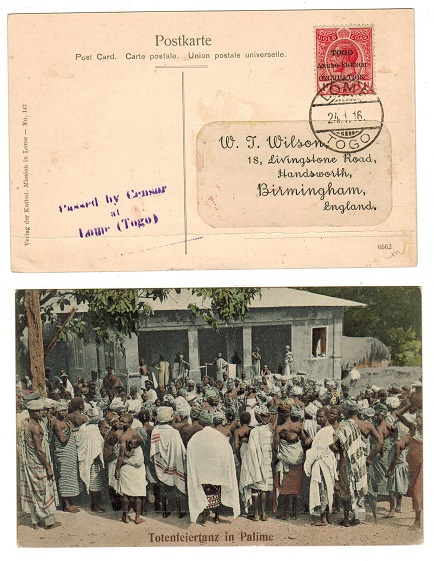 TOGO - 1916 1d rate postcard to UK censored at LOME.