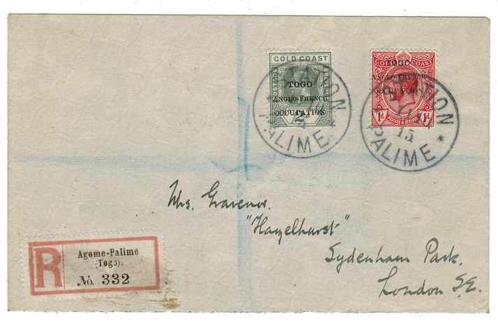 TOGO - 1915 registered cover to UK used at STATION PALIME.