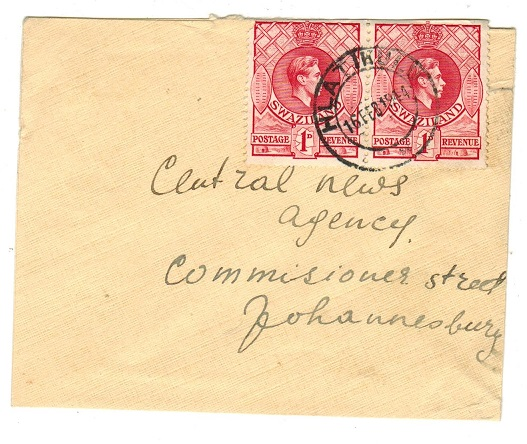 SWAZILAND - 1944 2d rate local cover used at HLATIKULU.