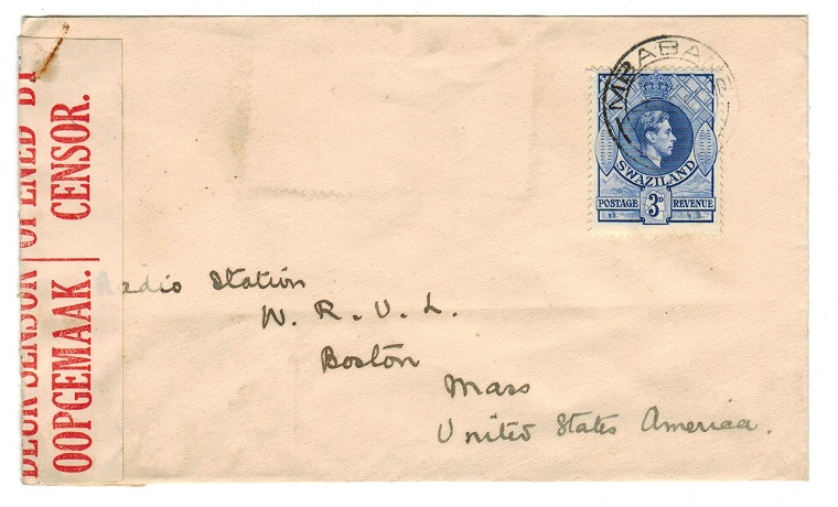 SWAZILAND - 1942 censored cover to USA used at MBABANE.