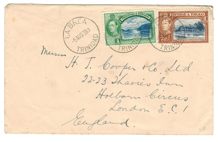 TRINIDAD AND TOBAGO - 1938 3c rate cover to UK used at LA BREA.