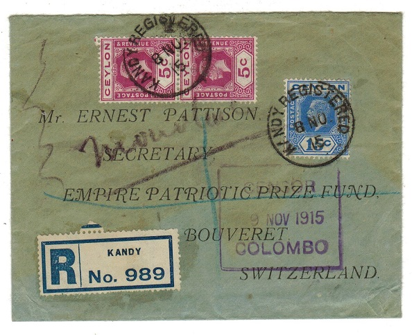CEYLON - 1915 registered censor cover to Switzerland used at KANDY.