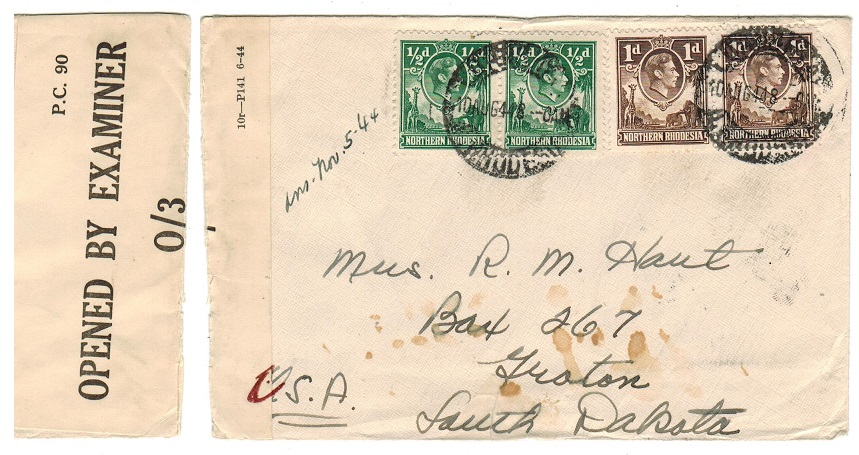 NORTHERN RHODESIA - 1944 censor cover to USA used at LUANSHYA.