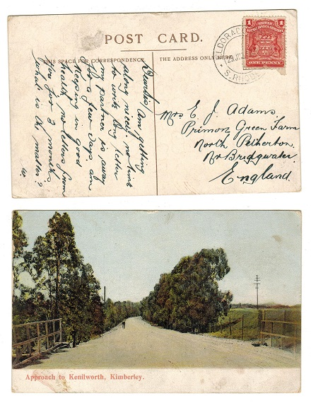 RHODESIA - 1912 1d rate use of picture postcard to UK used at ELDORADO MINE.