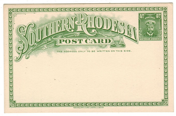SOUTHERN RHODESIA - 1924 1/2d green PSC unused.  H&G 1.