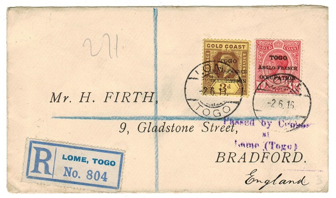 TOGO - 1916 4d rate registered cover to UK from LOME with PASSED BY CENSOR h/s.
