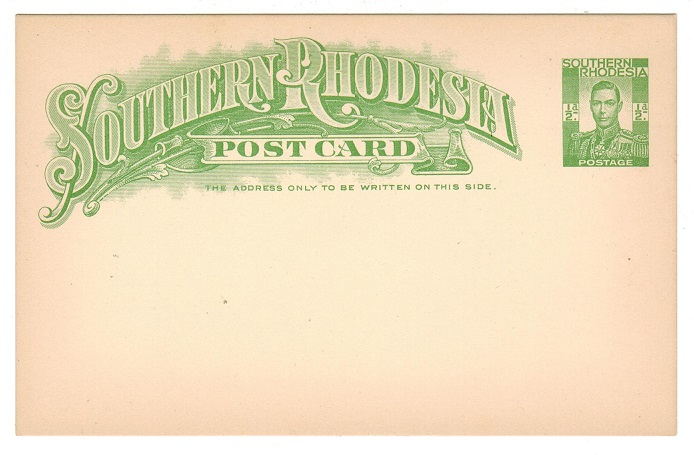 SOUTHERN RHODESIA - 1937 1/2d yellowish green PSC unused.  H&G 5.