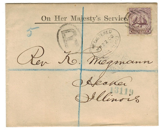 TURKS AND CAICOS IS - 1902 6d rate registered OHMS cover to USA.