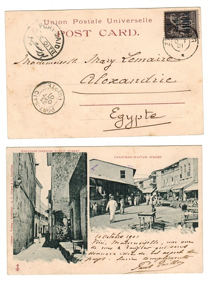 ZANZIBAR (French) -1901 1a on 10c black surcharge use on postcard to Egypt.