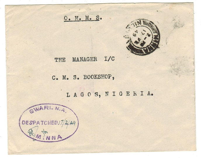 NIGERIA - 1949 local stampless O.H.M.S. cover used from MINNA.