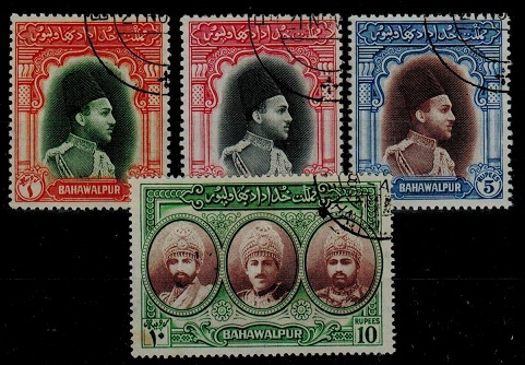BAHAWALPUR - 1948 1r-10r colour changes fine used.  SG 35-38.