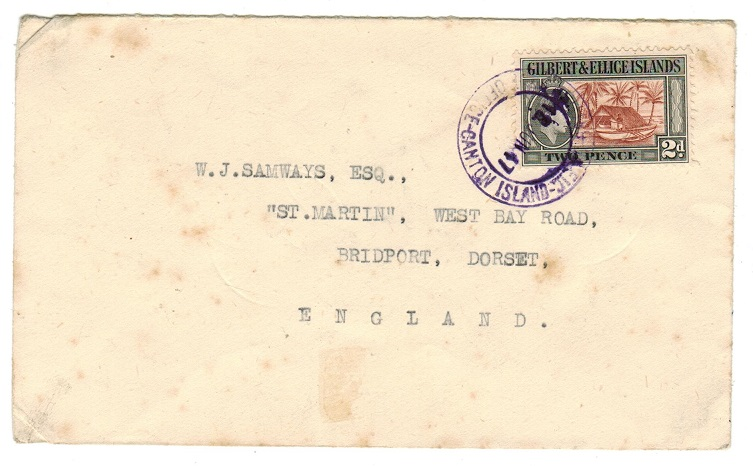 GILBERT AND ELLICE IS - 1947 2d rate cover to UK used at CANTON ISLAND.