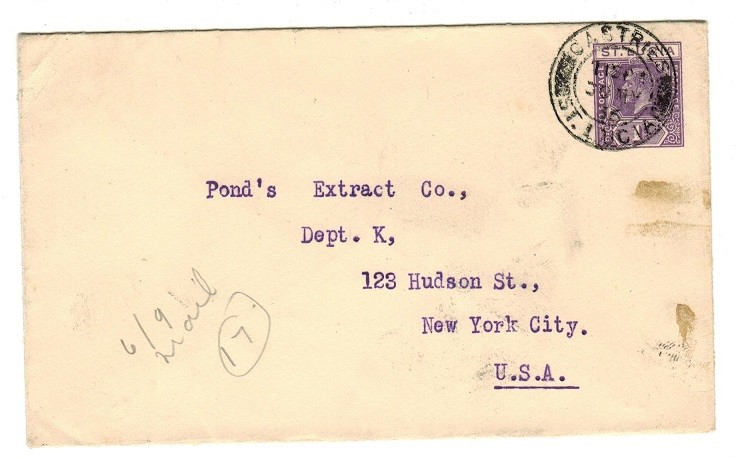 ST.LUCIA - 1936 1d violet PSE to USA used at CASTRIES.  H&G 2.