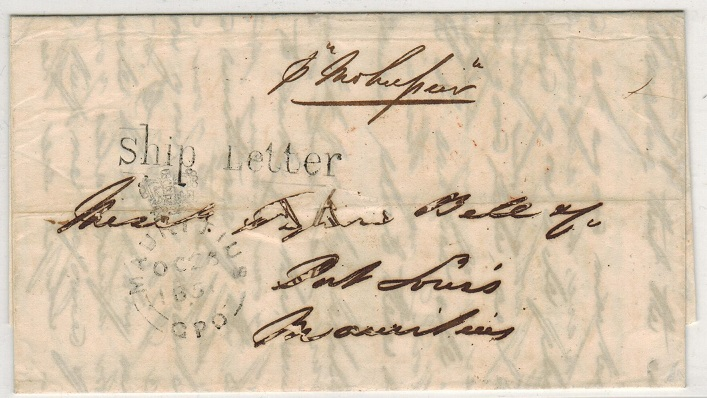 MAURITIUS - 1851 stampless inward entire from Calcutta with SHIP LETTER h/s.