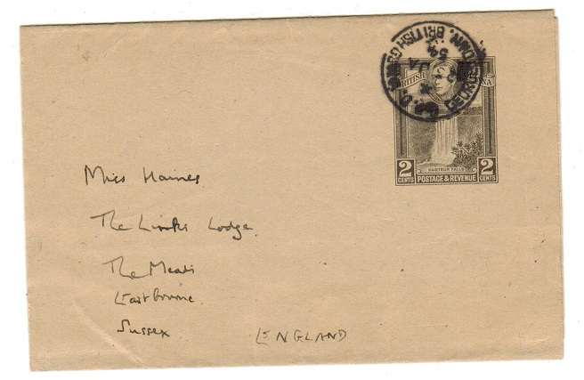 BRITISH GUIANA - 1938 2c black postal stationery wrapper used at GEORGETOWN.  H&G 7a.