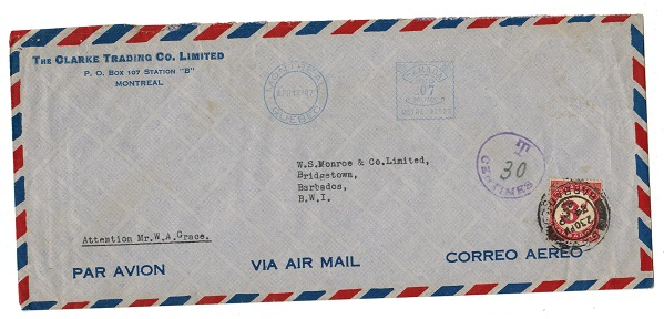 BARBADOS - 1947 inward underpaid cover from Canada with 3d