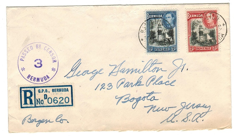 BERMUDA - 1943 registered censor cover to USA with scarcer