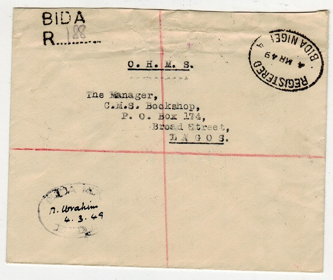 NIGERIA - 1949 stampless registered O.H.M.S. local cover used at BIDA.