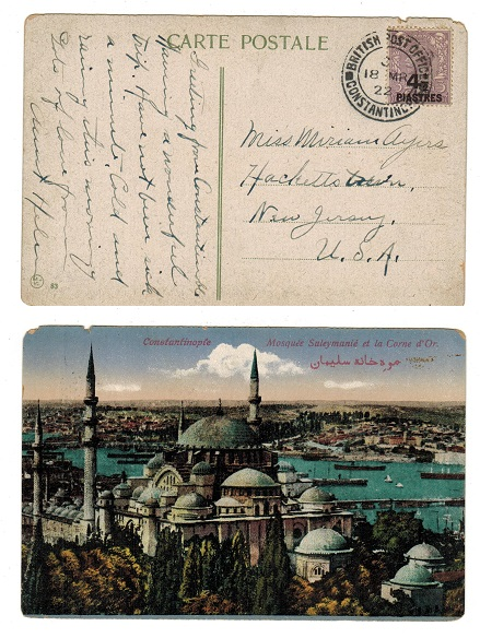 BRITISH LEVANT - 1922 4 1/2p on 3d postcard use to USA used at CONSTANTINOPLE.