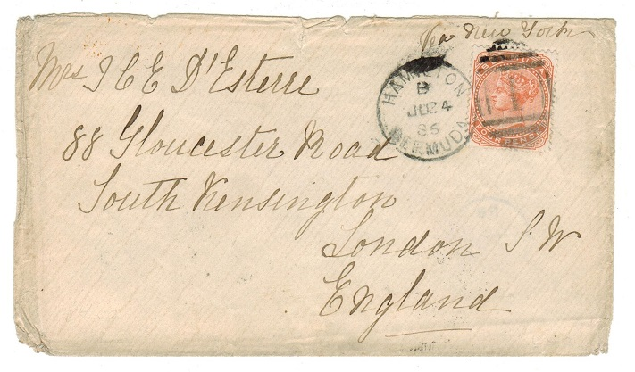 BERMUDA - 1886 4d rate cover to UK used at HAMILTON.