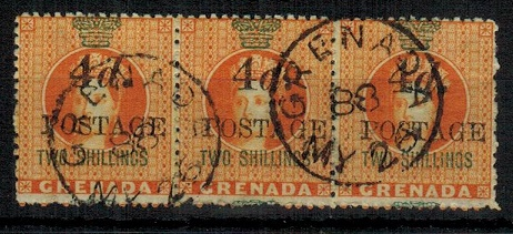 GRENADA - 1883 4d black on 2/- orange used strip of three.  SG 41.