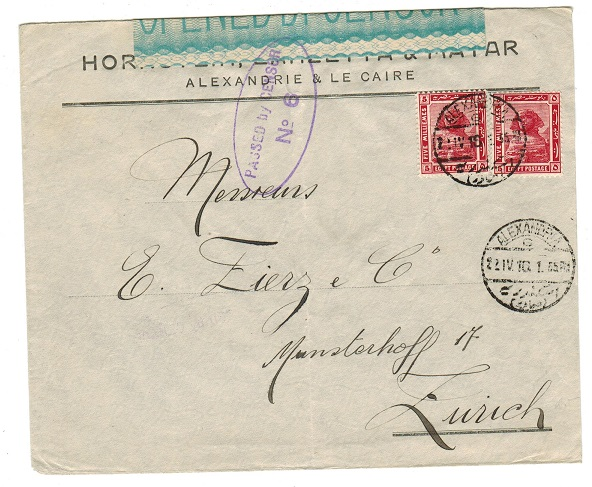 EGYPT - 1916 censored cover to Switzerland.